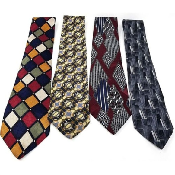 Other - Lot of 4 mens silk ties geometric patterns